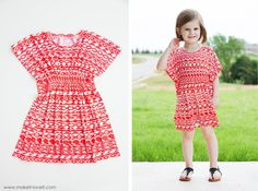 The 45-minute Butterfly Sleeve Tunic Dress....a quick and comfy sewing project that is darling in both girls and women sizes!