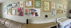 Children's art gallery wall. Canvas, empty frames + clothes pins. Hang their art at soon as it comes home!
