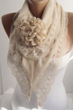 Diy Scarf, Lace Scarf, 60 Fashion, Fashion Outfits, Womens Fashion, Blue Wedding Dresses, Scarf Design, How To Wear Scarves, Facon