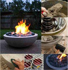 DIY Concrete Fire Pit ................FOLLOW DIY FUN IDEAS for more!!