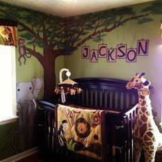 to paint a jungle tree in Jerms room with branches going over his crib. Then hang felt pendant banners across the branches Jungle Theme Rooms, Jungle Baby Room, Baby Boy Room Decor, Baby Room Design, Baby Boy Rooms, Baby Boy Nurseries, Room Baby, Safari Room, Safari Nursery
