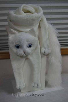 White Cat Scarf Knitting Cat Scarf Animal knitting scarf-Cat