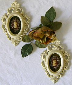 Pair of Cameo Framed In Oval Filigree Frames by theevintageshop, $18.12
