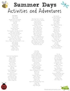 Activities for Kids on Summer Break + Summer Schedule for Kids - FREE Printables! - So many fun ideas for stuff the kiddos and I can do this summer. Kids Summer Schedule, Summer Activities For Kids, Fun Activities, Family Day Activities, Travel Activities, Fun Games, Toddler Activities, School's Out For Summer, Summer Kids