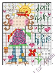 Cross-stitch Don't Worry, Be Hippy... no color chart available, use pattern chart as your color guide.. or choose your own colors...