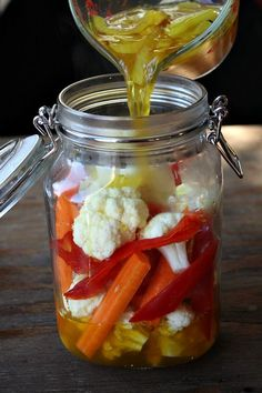 Pickled Cauliflower with red bell peppers and carrots.