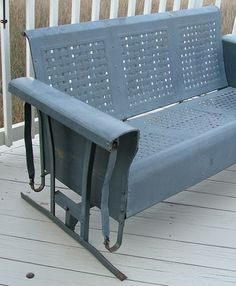 Vintage Metal Rockers | Vintage Three Seat Metal Porch Glider And Two Chairs.  Basketweave .