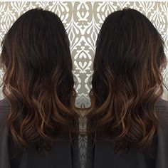 Subtle balayage brunette, perfectly done. Hair color, cut and style by… More