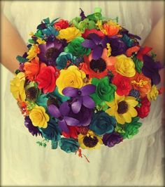 Rustic Rainbow Wooden Bouquet | AccentsandPetals - Wedding on ArtFire