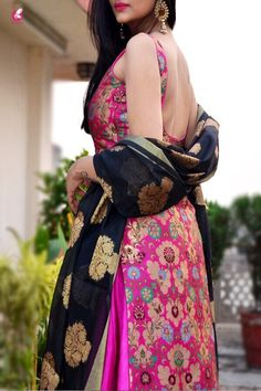 Buy Magenta Banarasi Padded Kurta Online in India New Saree Blouse Designs, Silk Kurti Designs, Salwar Designs, Kurta Designs Women, Kurti Designs Party Wear, Dress Indian Style, Indian Dresses, Indian Wedding Outfits, Indian Outfits