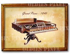 Vintage Grand Paino 1840 Musical Instrument instant by OldiesPixel