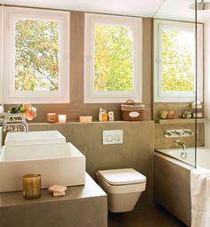 Cement_Baño en microcemento con lavamanos doble