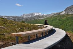 National Tourist Routes in Norway    - scenic roads for exploring Norway's breathtaking landscapes    -Flotane.   Here you can find a rest area with benches, as well as service facilities operating on solar energy. Flotane is a natural point of departure for hikes along the old construction road leading onto the mountain plateau. Architect: Lars Berge.     Choose your route-Viewing platform offering a magnificent panorama over the Erdal Valley.    Photo: Lars J. Berge