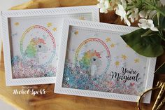 Nichol Spohr LLC: you're magical | Waffle Flower Crafts | Stitched Unicorn Shaker Cards