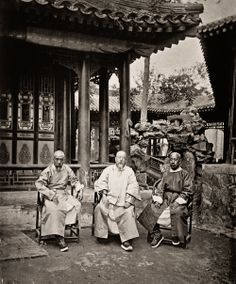 Three ministers at the office of Foreign Affairs, Beijing, 1871-1872.  From left to right : Shen Guifeng (沈桂芬) one of the contributors of the Self-Strengthening Movement, Dong Xun (董恂), Minister of Revenue and Mao Changxi (毛昶熙), the Minister of Works.