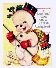 Cute Little Snowman Broom Top Hat Vintage Christmas Card