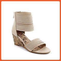 AmoonyFashion Women's Open Toe Kitten-Heels Soft Material Solid Zipper Wedges-Sandals, Beige, 36 - Sandals for women (*Amazon Partner-Link)