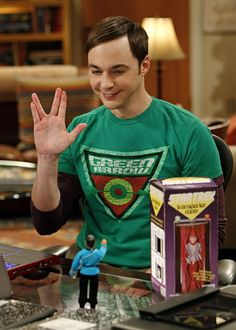 """The Big Bang Theory...Tiny Spock!! Live Long and Prosper!    (from season 5, episode 20 """"The Transporter Malfunction"""" ...I'm a bit afraid that I knew which season this was from without consulting Google or Wikipedia.)"""