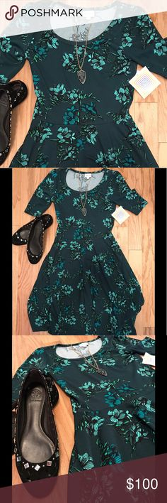NWT‼️ Floral Lularoe Nicole  Small Dress  Absolutely gorgeous! UNICORN! Beautiful vintage floral design (flowers, roses)! So on trend! Nicole dresses are perfect for twirling! This teal / turquoise / blue / green print is incredible for all year round! Wear it with sandals in the summer or booties in the fall / autumn. Add Solid black tights in winter. A light weight mint cardigan for in spring! Brand New with tags, perfect condition! Scoop neck. 3/4 sleeves. Listing includes dress only (the…