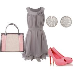 Love this dress and the colors. Gray and Pink. Just needs some pearls!