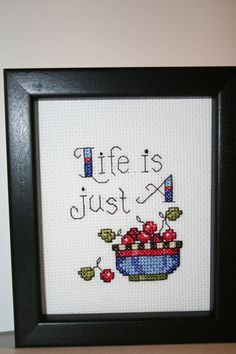 Cross Stitched Small Picture of a Bowl of Cherries.
