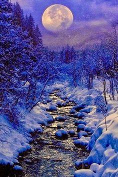 full moon, winter creek