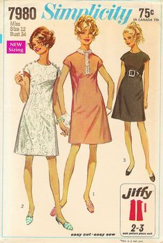 Vintage Sewing Pattern - 1968 Misses Jiffy Dress Simplicity 7980 Size 12 Bust 34