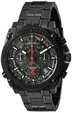 Bulova Men s  Precisionist  Quartz Stainless Steel Automatic Watch,  Color Black (Model  98B257) 3d44d3a98a71