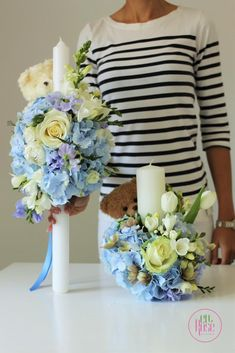 Boy Baptism, Christening, Wedding Bouquets, Wedding Flowers, Sweet Pea Flowers, Baptism Candle, Candle Centerpieces, Baby Party, Blue Wedding