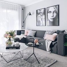 scandi syle living room idea with gray sofa living room Living Room Stands, Living Room Grey, Small Living Rooms, Living Room Sofa, Living Room Interior, Apartment Living, Cozy Apartment, Apartment Design, Charcoal Sofa Living Room