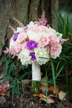 Delicate bridal bouquet: ink roses, white hydrangea, and a scattered purple flowers | Barns at Wolf Trap in Northern VA | Kyle Bergner Photography