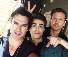 @iansomerhalder: WE'RE STILL SHOOTING!! With @paulwesley & @ErnestoRiley - we love you all!!!!