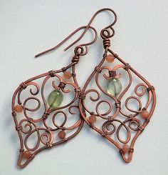 Copper Filigree Prehnite and Moonstone Earrings Artisan Wire Wrapped   OwlHollowStudio - Jewelry on ArtFire