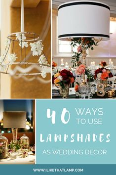Lampshades as Wedding Decor: 50 Examples of Fabulous: We love the look of lampshades, both vintage and contemporary. And there are myriad ways to incorporate them into your wedding's decor, whether your theme is country-chic or city-glam. Diy Wedding Decorations, Handmade Decorations, Light Decorations, Wedding Centerpieces, Wedding Candelabra, Centrepieces, Flower Centerpieces, Decorative Lamp Shades, Glass Lamp Base
