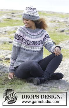 Telemark / DROPS - Free knitting patterns by DROPS Design Knitted sweater with round yoke and multicolored Norwegian pattern, knitted from top to bottom. Sizes S - XXXL. Knitting Machine Patterns, Knit Patterns, Drops Design, Fair Isle Knitting, Free Knitting, Knitting Designs, Knitting Projects, Rowan Felted Tweed, Fair Isle Pattern