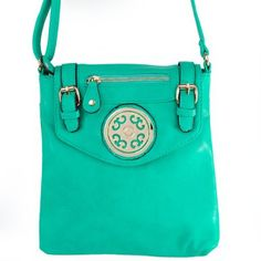 """Click Here and Buy it On Amazon.com $29.99 Amazon.com: New Arrival """"Designer Inspired"""" Unique Zipper and Buckle Detailed Solid Messanger Bag / Crossbody Bag in Mint Green: Clothing"""