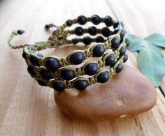 Black Onyx macrame bracelet macrame jewelry beaded by SelinofosArt Macrame Art, Macrame Knots, Micro Macrame, Macrame Jewelry, Macrame Bracelets, Jewelry Art, Shambala Bracelet, Colorful Bracelets, Beautiful Gift Boxes