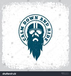 Vintage label with bearded man in a helmet and goggles on grunge background for t-shirt print, poster, emblem. Motorcycle Posters, Motorcycle Art, Motorcycle Tattoos, Dog Logo Design, Sticker Design, Beard Logo, Flash Wallpaper, Bike Stickers, Vintage Helmet