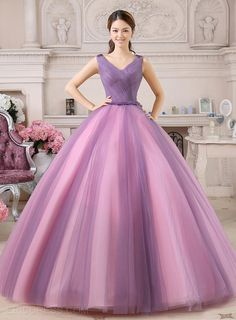 A-Line V-Neck Appliques Tulle Back Floor-Length Prom/Quinceanera Dress Quinceanera Dresses- ericdress.com 11246202