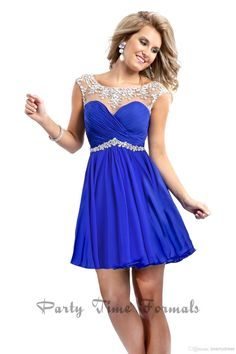 Wholesale Party Dresses - Buy 2014 Fashion Party Dresses Royal Blue Red Mini Sheer Straps With Colored Rhinestones Open Back Ruffles Short P...