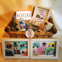 A personal favourite from my Etsy shop https://www.etsy.com/uk/listing/594105885/personalised-wedding-illustrated-hamper