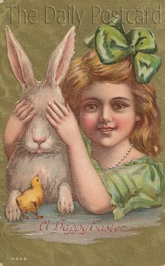 Antique bunny and girl postcard