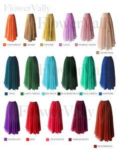 17 Colors Double Silk Chiffon Long Skirt / Summer Skirt/ Maxi Dress/ Bridesmaid Dress. $55.00, via Etsy.