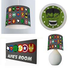 AVENGERS SUPERHERO - Bedroom Bundle Lampshade, Lamp, Clock, Door Sign in Home, Furniture & DIY, Children's Home & Furniture, Home Decor   eBay