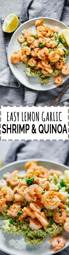 Easy Lemon Garlic Shrimp & Quinoa! Gluten-free and so easy to make! This recipe is sponsored by Dorot. #ad