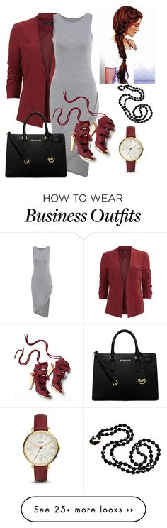 """""""work wear"""" by jeany-i on Polyvore featuring VILA, Derek Lam, FOSSIL and MICHAEL Michael Kors"""
