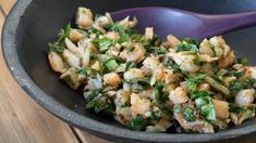 Shrimp and Spinach Filling for Gyoza | Epicure.com 10 MIN PREP 15 MINUTES 70 CALORIES $2.00   Ingredients MAKES: FILLS APPROXIMATELY 36 GYOZA FOR 4 SERVINGS 2 C (500 ml) tightly packed spinach leaves 6 oz (180 g) finely chopped shrimp 1/4 C (60 ml) finely chopped water chestnuts 2 tsp (10 ml) Asian Stir-Fry Seasoning, or Epicure Thaï Seasoning 1 tsp (5 ml) sesame oil 1 egg white 1 Tbsp (15 ml) Sweet and Spicy Asian Dipping Sauce, prepared Preparation   Wilt spinach leaves in small amount of…