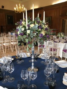 A classic tall candelabra wedding table centre