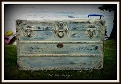 Antique Distressed Wood And Steel Steamer Trunk With Vintage Decoupaged Paper Lining Shabby Chic Chalk Paint. $300.00, via Etsy.