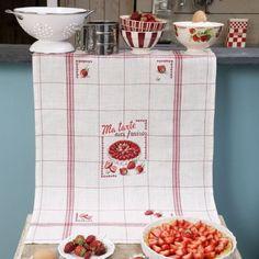Torchon «Aux fraises» - Lino